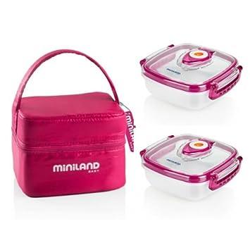 Miniland Pack-2-Go Hermifresh - Herméticos de vacío con funda, color rosa