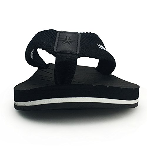 URBANFIND Men's Thongs Flip Flop Sandals Comfortable Athletic Arch Support Beach Shower Slippers Weave Black, 10 D(M) US by URBANFIND (Image #2)