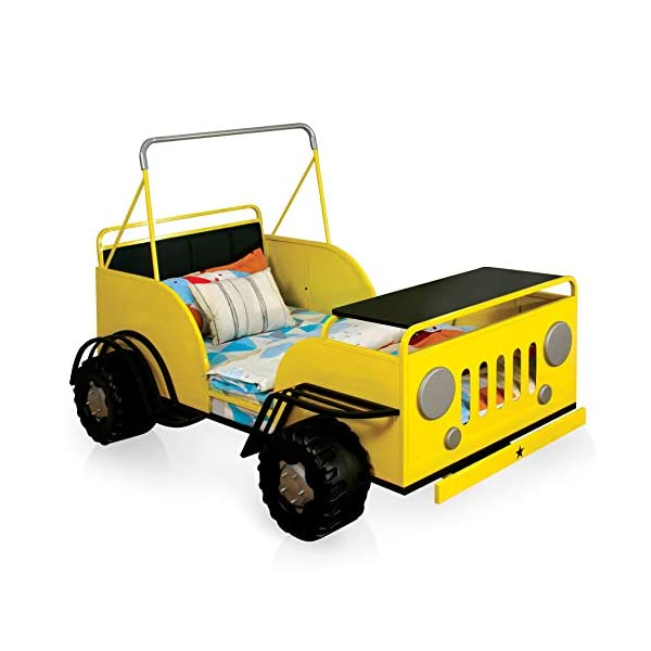 Furniture of America Jungler Metal Off-Road Vehicle Yellow Twin Bed 3