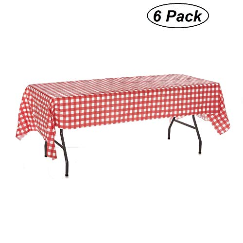 Oojami Pack of 6 Plastic Red and White Checkered Tablecloths - 6 Pack - Picnic Table Covers]()