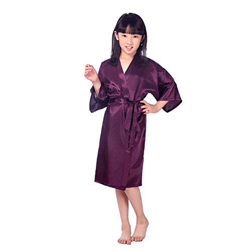 Flower Girl Pajamas Wedding (Children's Silk Stain Pure Kimono Wedding Dressing Gown Kimono Robes Bridal Lingerie)