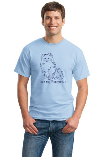 I LOVE MY POMERANIAN Adult Unisex T-shirt / Blue Pomeranian Lover / Dog Fan Shirt
