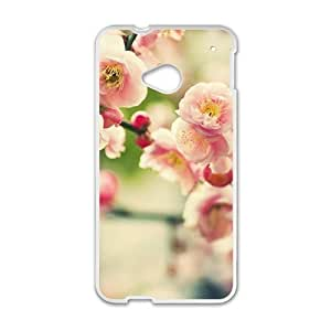Personalized Creative Cell Phone Case For HTC M7, peach pink flowers blossom glam spring scene