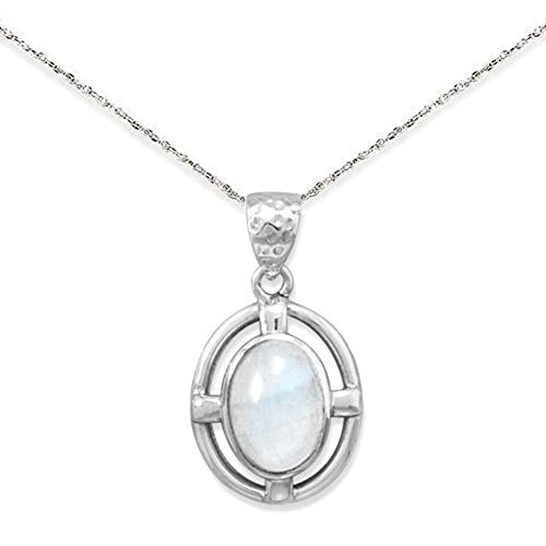 Rainbow Moonstone Oval Pendant Necklace Sterling Silver, 16-inch from AzureBella Jewelry