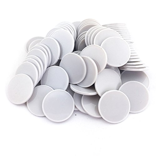 SmartDealsPro Set of 100 25MM/1 Inch Opaque Plastic Learning Counting Counters Poker Chips with Storage Box (Grey)