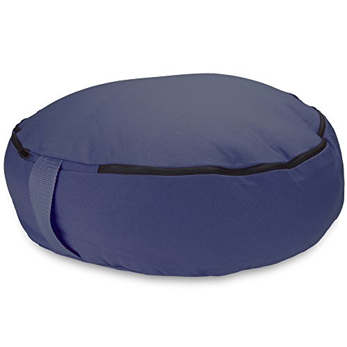 Crown Sporting Goods 18'' Round Heavy Canvas Zafu Meditation Cushion (Blue) by Crown Sporting Goods