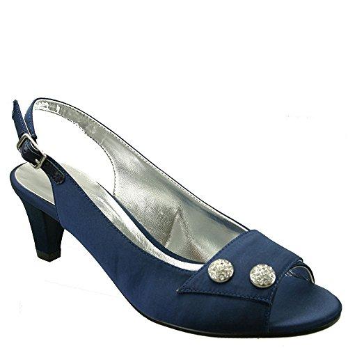 David Tate Party Women's Sandal Navy Satin Size- 8W