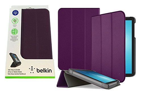 Belkin Form-Fit Tri-Fold Folio for Samsung Galaxy Tab E 8.0 - Pinot - F7P369BTC01-TL - Edge Pinot