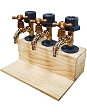 Whiskey Wood Dispenser, Faucet Shape Liquor Alcohol Beer Dispenser for Party Dinners Bars, Fathers Day Gift