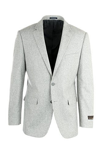 Tiglio Sangria Elbow Patches Appliqued Light Gray Stripe Flannel Wool Jacket by Canaletto Menswear