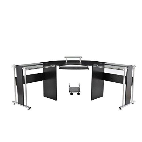 "HOMCOM 69"" Modern L-Shaped Symmetrical Tempered Glass Office Computer Desk"