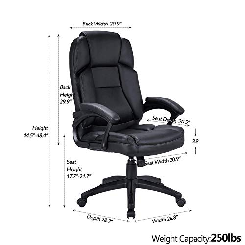 LCH High Back Executive Office Chair with Adjustable Tilt Angle - PU Leather Computer Desk Chair with Thick Padding for Comfort and Ergonomic Design for Lumbar Support by LCH (Image #3)