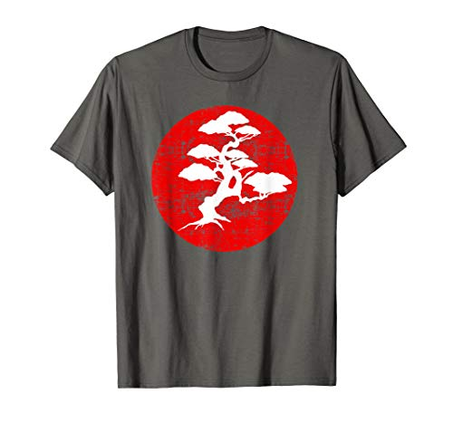 Japanese Bonsai Tree Red Sun Karate Shirt Gift ()
