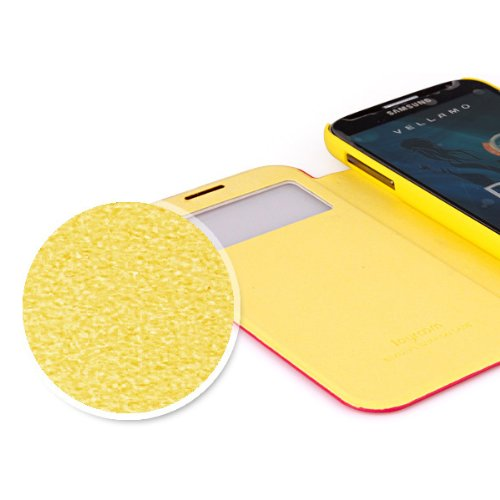 Smark Tech New Arrival S-view Flip Cover Folio Case with Two Layer Leather Hollow Design for Samsung Galaxy S4 - Retail Packaging -Black,rose,yellow, Green Blue (Samsung Galaxy S4 Yellow)