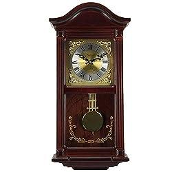 MISC 24h Chiming Wall Clock, 22 Cordless Hourly Royal Pendulum Chimes Tiny Antique Wallclock, Brass Mohagany Wood
