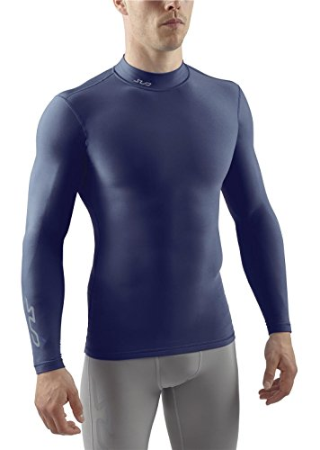 SUB COLD Mens Compression Shirt - Mock Neck Long Sleeve Top Thermal Base Layer - Navy - L (Soccer Neck Thermal)