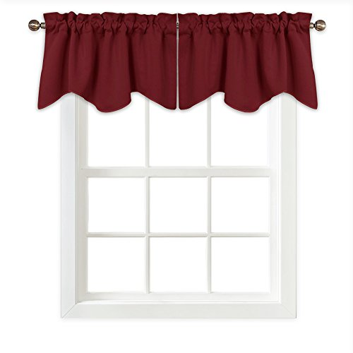 PONY DANCE Blackout Scalloped Tiers - Home Decor Thermal Insulated Rod Pocket Window Treatments Small Curtain Tier Valance for Girl's Room, 42 x 18 Inch, Burgundy Red, Sold as 1 (Red Window Treatment)
