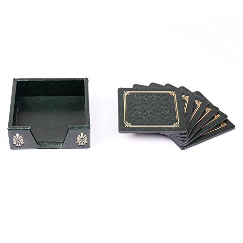 Hooshion Square Kitchen Bar Drink Coasters Set Faux