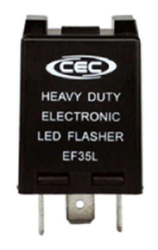 CEC Industries EF35L Electronic Turn Signal Flasher Relay, LED Compatible, 3 Prongs, 12 Volts
