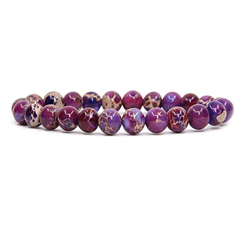 Purple Sea Sediment Jasper Handmade Gemstone 8mm Round Beads Elastic Bracelet 7