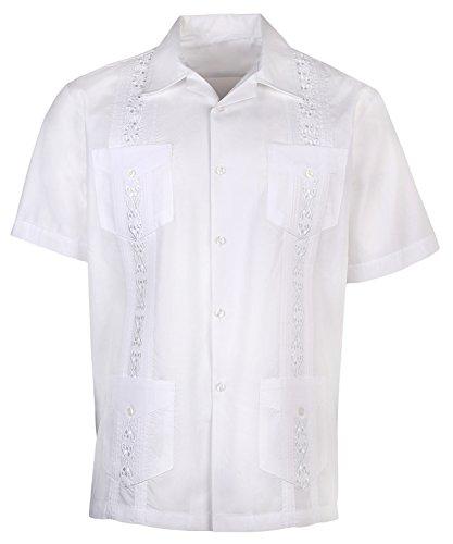 Urban Fox Mens Guayabera Short-Sleeve Shirt | Cuban | Wedding | Beach | White, Large
