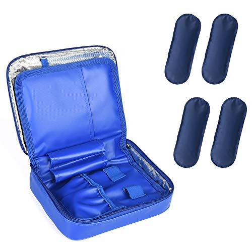 Goldwheat Large Waterproof Insulin Cooler Travel Case with 4 Ice Packs Portable Medical Cool Bag Medication Organizer Kits