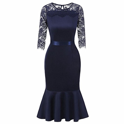 O Blue Dress Patchwork A Guaina JUWOJIA Donna Midi Elegante Laccio Collo Di Abito Mezzo Manicotto Estate Campana Primavera fxq0wvT