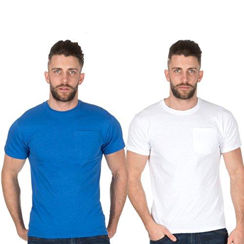 Fruit of the Loom - Camiseta - para hombre Azul Y Blanco