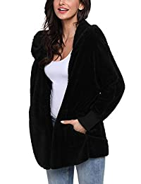 Mingnos Women Fuzzy Fleece Open Front Hooded Jacket Coat Pockets