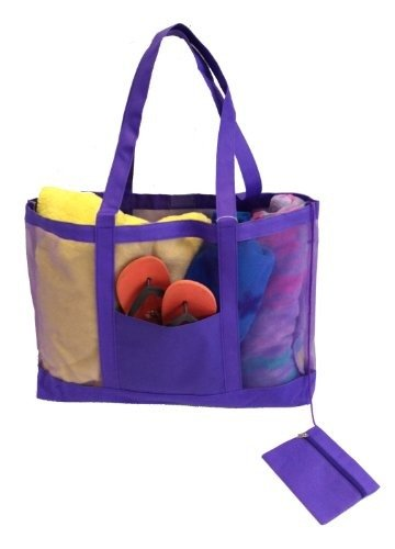 Getagadget Huge See-Thru Mesh Beach Tote Bag One Size Purple - Fun Beach Bag