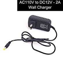 """E-KYLIN DC 2.1x5.5mm Plug AC Adapters 110V to DC 12V 2A TEST Wall Charger Power Adapter for Car electronics / CCTV Surveillance System - Cable Length 43"""""""