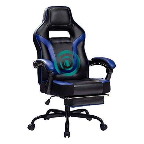 HEALGEN Big and Tall Gaming Chair with Footrest PC Computer Video Game Chair Racing Gamer Pu Leather Chair High Back Swivel Executive Ergonomic Office Chair with Headrest Lumbar Support (9076Blue)
