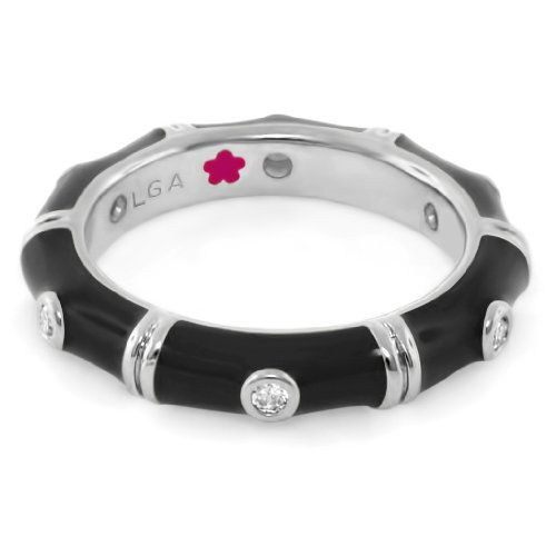 Lauren G Adams Rhodium-Plated Stackable Tiny Dots Ring with Black Enamel & CZ