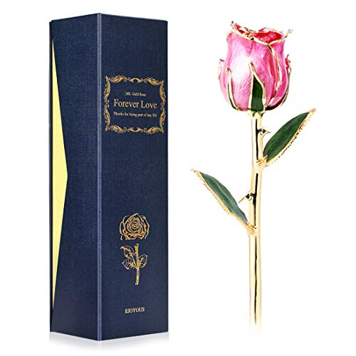 Ejoyous 24K Gold Rose Pink Fresh Rose Dipped in 24 Karat Gold, Natural Shape Rose Flower Gift for Her on Birthday Wedding Anniversary Graduation Housewarming Apology or Thankfulness, Pink