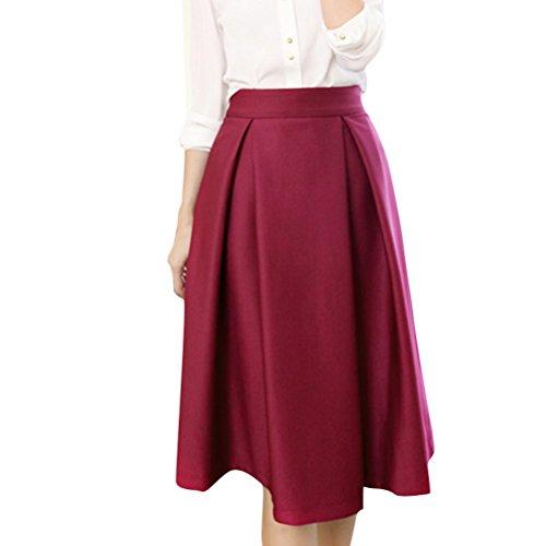 Oudan Jupe Femme Pliss vase Casual Mi-Longue Haute Taille aux Genoux Jupe Patineuse Elastique Rose
