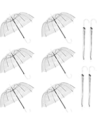10 Pack 46 Inch Clear Bubble Umbrella Large Canopy Transparent Stick Umbrellas Auto Open Windproof with White European J Hook Handle Outdoor Wedding Style Umbrella for Adult