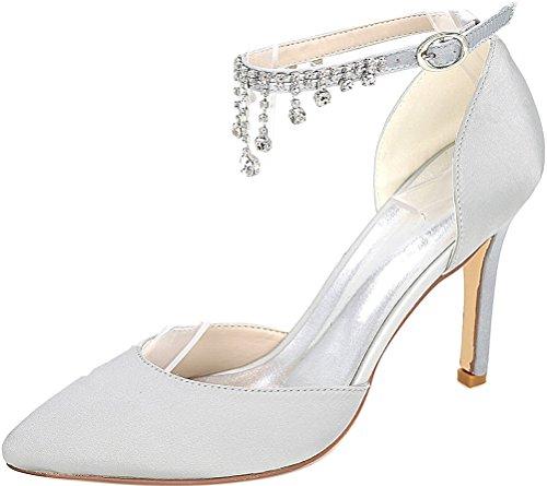 0608 Strap Rhinestone Silver Wedding Salabobo Satin Heel Bridesmaid Bride Party Dress Noble Pointed Pumps Ankle 22l Mid Ladies Toe 4Cfgdwq