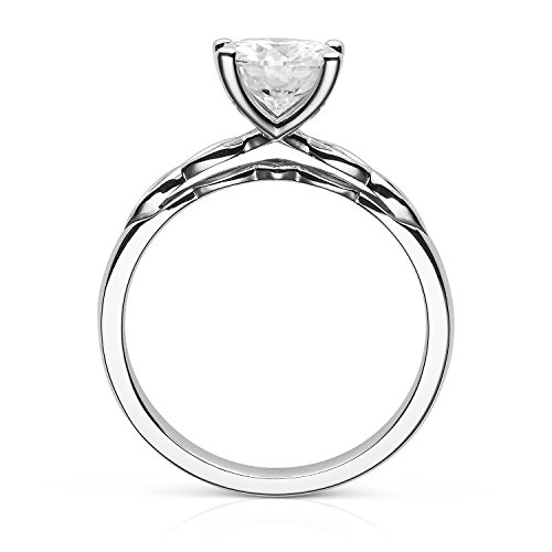 Forever Brilliant Round Cut 7.5mm Moissanite Engagement Ring-size 9,1.50ct DEW By Charles & Colvard by Charles & Colvard (Image #2)