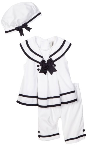 Rare Editions Baby Girls' Nautical Capri Set With Hat, White/Navy, 12 Months