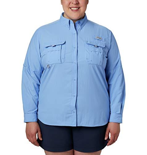 Columbia Standard Women's PFG Bahama II Long Sleeve Shirt, Breathable with UV Protection, White Cap, X-Large