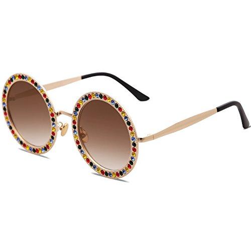 Redondo C5 Gafas Gradiente Marco Mujer Para Marco Lente SojoS De Diamante Café Sol Dorado SJ1095 Cristal pvdq6Xw