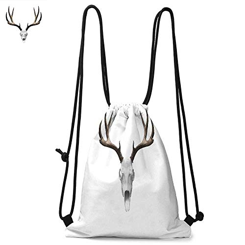Antlers Decor Portable drawstring backpack A Deer Skull Skeleton Head Bone Halloween Weathered Hunter Collection For the gym W13.8 x L17.7 Inch