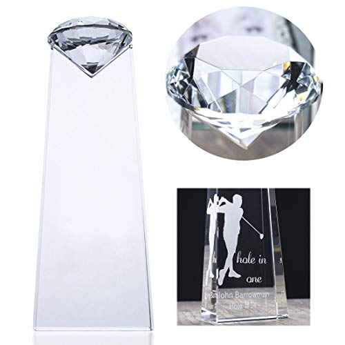 H&D Crystal Diamond Shape Trophy with Free Engraving Customization,8