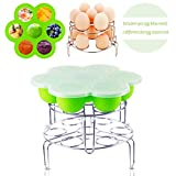 egg poacher pot - Instant Pot Accessories Silicone Egg Bites Molds with 2 Pcs Stainless Steel Egg Steamer Rack Set for Instant Pot Accessories Reusable Storage Container By Fanuk