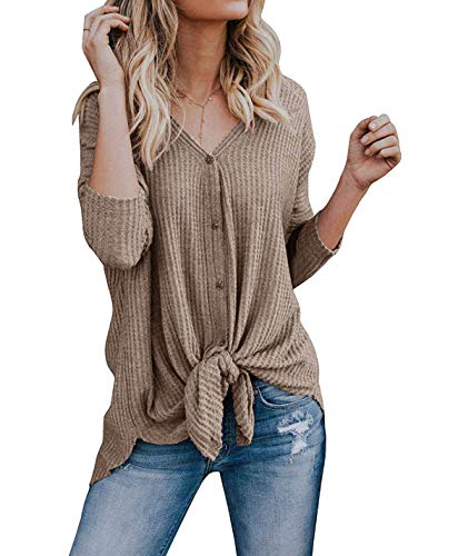 VEIMEILI Womens Waffle Knit Tunic Blouse Tie Knot Henley Tops Bat Wing Plain Shirts Khaki S