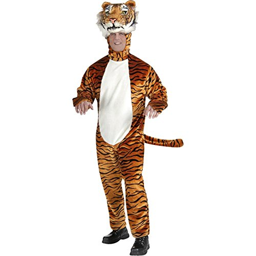 Deluxe Plush Orange Tiger Adult Costumes (Adult's Deluxe Tiger Mascot Costume (Size: Standard 42))