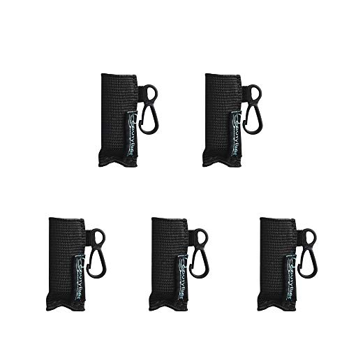 Beautyflier Pack of 5 Clip-on Sleeve Chapstick Pouch Keychain Lipstick Holder Elastic Lip Balm Holster Travel Accessories (Black)