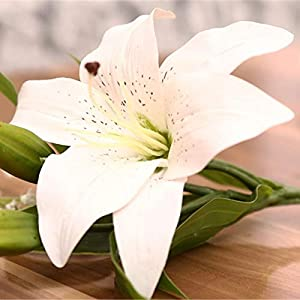 Real Touch - 3 Heads Artificial Real Touch Lily Flowers Simulation Fake Flower Plants Bridal Party Home Wedding - Daisy Lilies Silver Baby Dancing Artificial Yellow Dendrobium Iris Succul 106