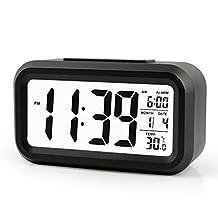 OFKP® Digital Alarm Clock, Large HD Display, Snooze, Smart Soft Light, Progressive Alarm, Battery Operated, Simple Setting, Temperature Display, Easy for Travel (Black)