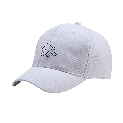 Fashion-Cap Cotton 6 Panel Low Profile White Peaked Hat Embroidered Logo Adjustable Fish Cap (Gas Airsoft Goggles)